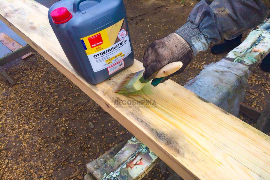 как правильно наносить отбеливатель на древесину